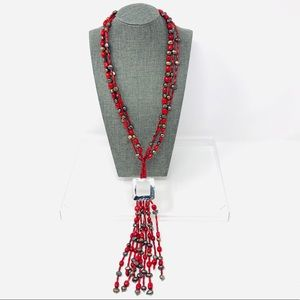 🆕 red coral, black pearls, sterling neckla…